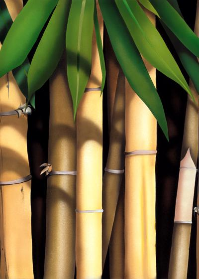 Shelly Maudsley White Bamboo Tryptic Water Acrylic Painting